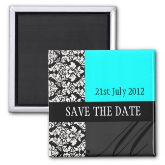 Damask Turquoise Save The Date Magnet