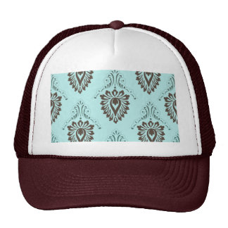Damask,turquoise,teal,brown,vintage,victorian,chic Mesh Hat
