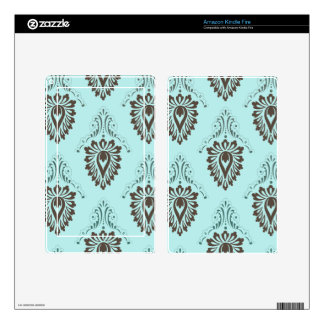 Damask,turquoise,teal,brown,vintage,victorian,chic Kindle Fire Decals