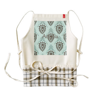 Damask,turquoise,teal,brown,vintage,victorian,chic Zazzle HEART Apron
