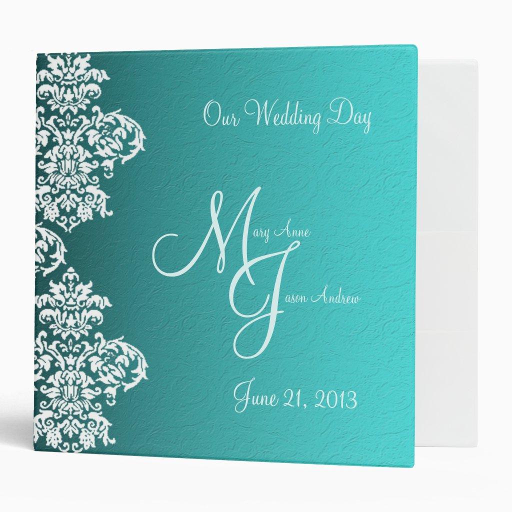 Damask Turquoise Wedding Binder