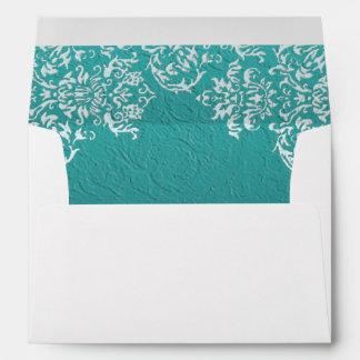 Damask Turquoise Wedding Envelopes