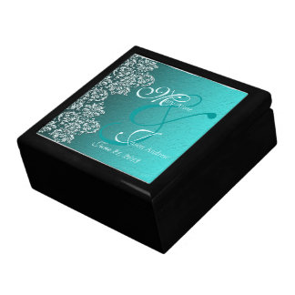 Damask Turquoise Wedding Gift Box