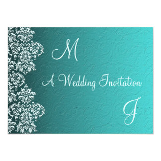 """Damask Turquoise Wedding Invitation 5.5"""" X 7.5"""" Invitation Card"""