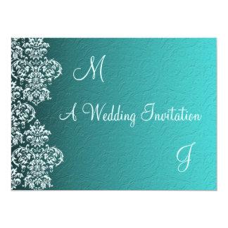 Damask Turquoise Wedding Invitation