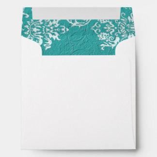 Damask Turquoise Wedding Square Envelope