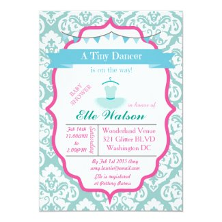 "Damask Tutu Ballerina Baby Shower Invitations Aqua 5"" X 7"" Invitation Card"