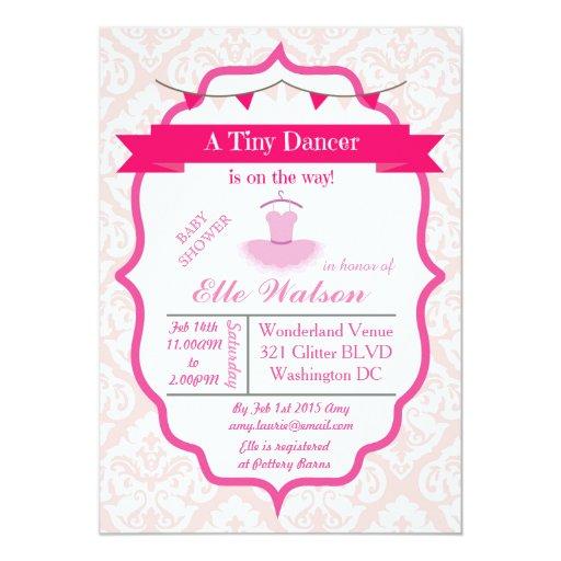 damask tutu ballerina baby shower invitations aqua