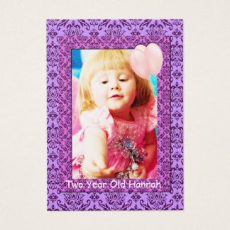 Damask Two Year Old  Girls Birthday Photo Cards