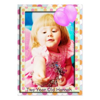 One Year Old Girls Birthday Photo Cards Business Card |