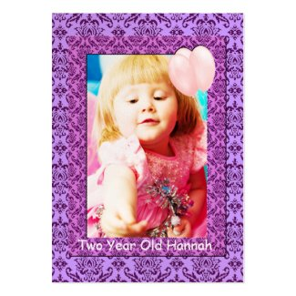 Two Year Old Girls Birthday Photo Cards Business Cards