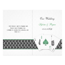 damask Vegas emerald green folded Wedding program