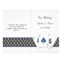 damask Vegas navy blue folded Wedding program