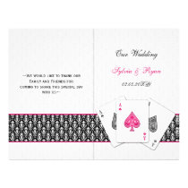 damask Vegas pink folded Wedding program