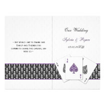 damask Vegas purple folded Wedding program