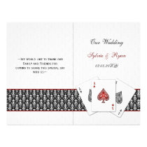 damask Vegas red folded Wedding program