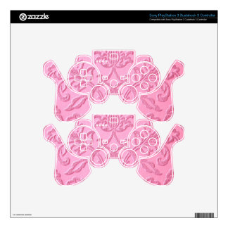 damask velvet pink girly victorian pattern textile skins for PS3 controllers