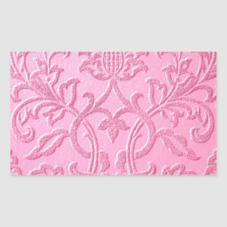 damask velvet pink girly victorian pattern textile rectangular sticker