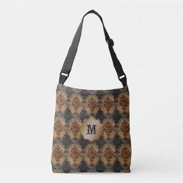 linda_mn Damask Vintage Black and Rust on Gray and Tan Crossbody Bag
