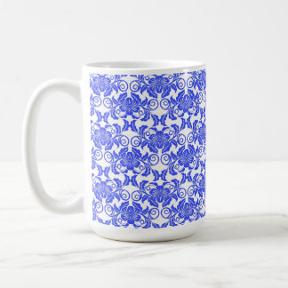 Damask vintage blue and white girly floral pattern coffee mug