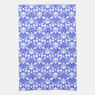 Damask vintage blue and white girly floral pattern hand towel