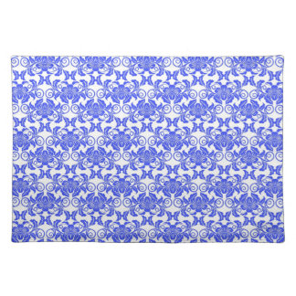 Damask vintage blue and white girly floral pattern placemat