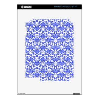 Damask vintage blue and white girly floral pattern skin for iPad 3