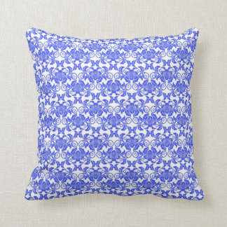 Damask vintage blue and white girly floral pattern throw pillow