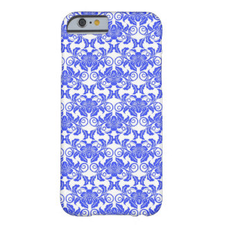 Damask vintage blue & white girly floral pattern barely there iPhone 6 case