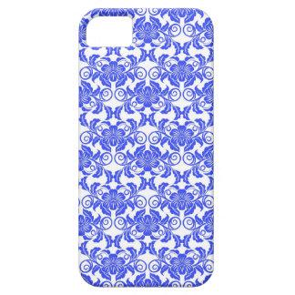 Damask vintage blue & white girly floral pattern iPhone SE/5/5s case