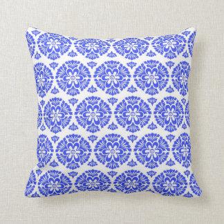 Damask vintage blue & white girly floral pattern throw pillow