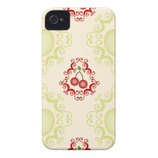 Damask vintage cherry cherries wallpaper pattern iPhone 4 Case-Mate cases