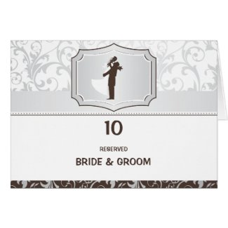 Damask Vintage Elegant Wedding Table Numbers Card