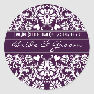 Damask Vintage Floral Wedding Matching Favors Classic Round Sticker