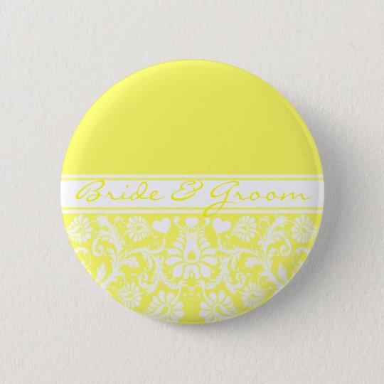 Damask Vintage Floral Wedding Matching Favors Pinback Button