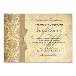 Damask Vintage Ivory Bow Wedding Invitation