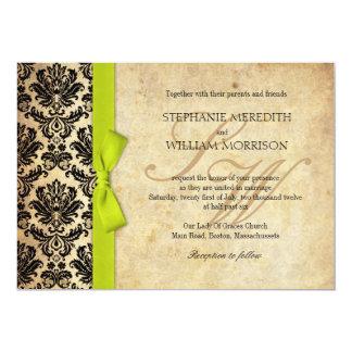 Damask Vintage Lime Bow Wedding Invitation