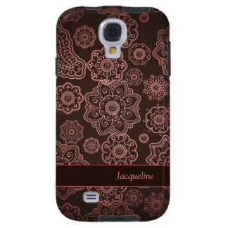 Damask Vintage Paisley Girly Floral Brown Pattern Galaxy S4 Case
