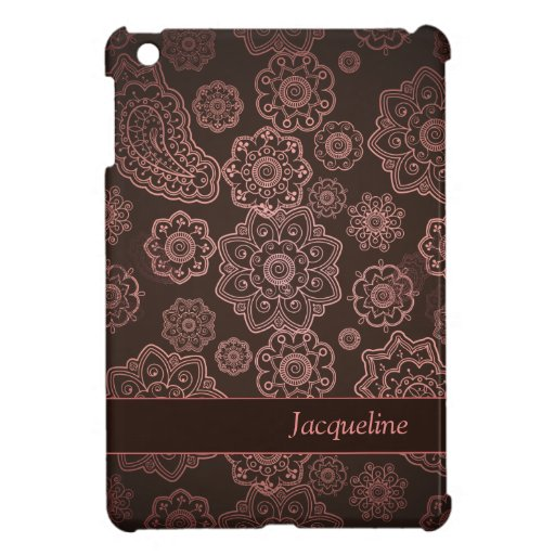 Damask Vintage Paisley Girly Floral Brown Pattern iPad Mini Case