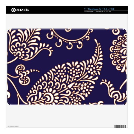 Damask vintage paisley girly floral chic pattern MacBook decal