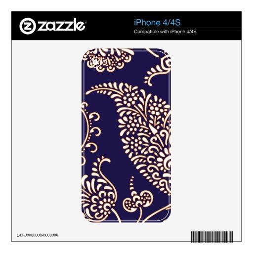 Damask vintage paisley girly floral chic pattern skin for the iPhone 4