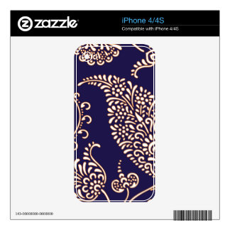 Damask vintage paisley girly floral chic pattern skin for the iPhone 4S