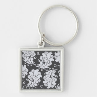 Damask vintage paisley wallpaper floral pattern keychain