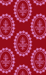Damask Vintage Pink Wallpaper Chandelier Pattern IPhone 4 Cover