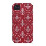 Damask vintage red wallpaper Fleur de lis pattern iPhone 4/4S Cases
