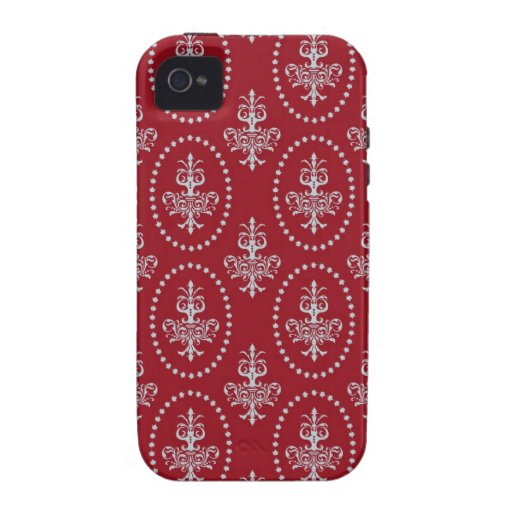 Damask vintage red wallpaper Fleur de lis pattern iPhone 4 Cases