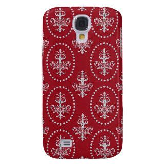 Damask vintage red wallpaper Fleur de lis pattern Galaxy S4 Case