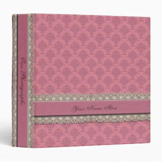 Damask Vintage Rose Pink Binder