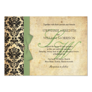 Damask Vintage Sage Bow Wedding Invitation