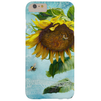Damask Vintage Sunflower w Bumble Bees Floral Art Barely There iPhone 6 Plus Case